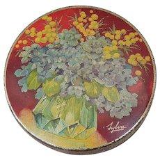 Sylva Tin Litho Floral Motif Round Tin
