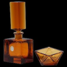 1959 Franz Burkert Hand Cut German Crystal #2 Amber Perfume Bottle Set with Jewelry Dish