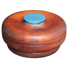Vintage Turquoise Painted and Varnished Wood Button Vanity Box