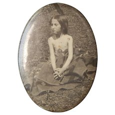 Pocket Mirror Historical Native American Child Puberty Native Blanket Medallion Photo Celluloid