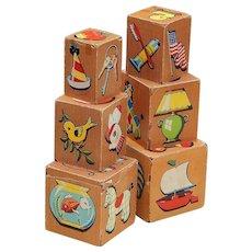 1949 SamL. Gabriel Sons & Co. Balsa Wood Paper Covered Nesting Blocks