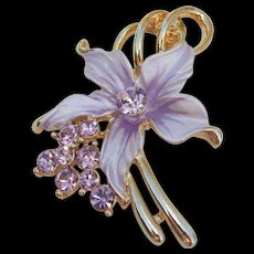 Stunning Lavender Rhinestone and Paint Gold Tone Costume Brooch Pin