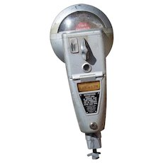 Reserved for Andy      Vintage Working! Duncan Miller Model 60 1,5 and 10 cent Metal Parking Meter with Hours Window