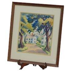 Original Listed Ruth Appleton Perkins Safford (1892-1979) Signed Framed Watercolor