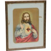 Vintage Sacred Heart of Jesus Litho in the USA Print Picture Framed by Vilas-Mages Chicago
