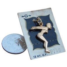 Vintage 12KT Gold Filled Women's Racing Swimmer Bracelet Charm