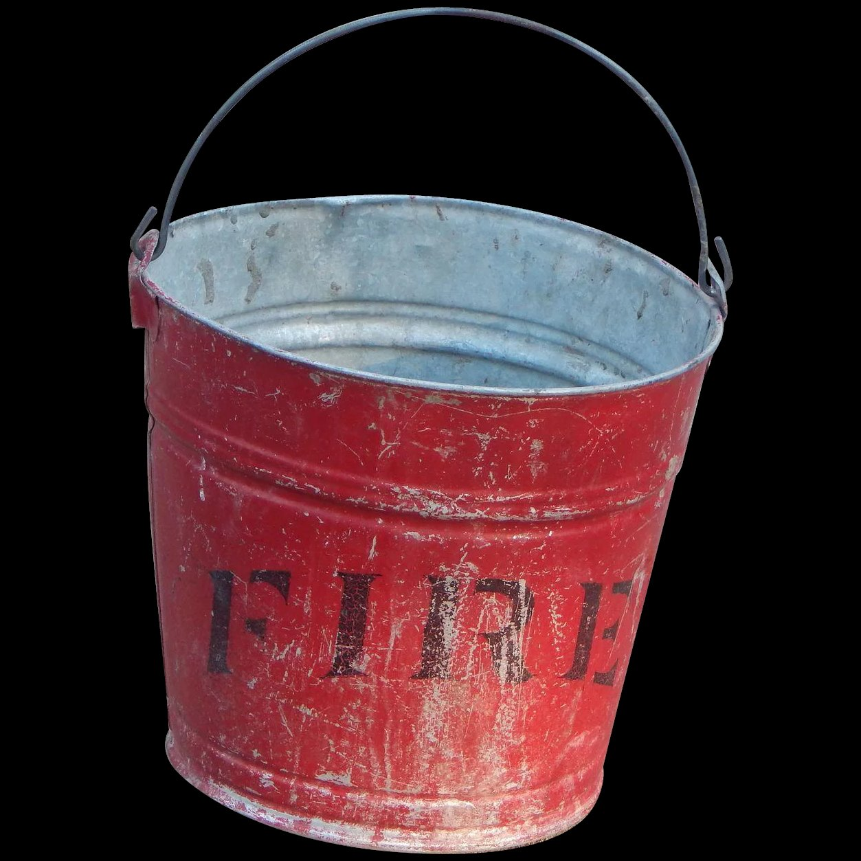 Old metal red convex bottom fire bucket for the love of for Old metal buckets