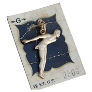 Griffith Hallmarked 12k Gold Filled Male Competitive Swimming Vintage Charm