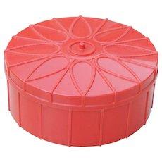 Vintage Round Red Plastic Vanity Box