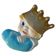 Vintage Chalkware Boy with Golden Crown