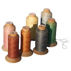 Vintage Intrinsic Brand Wooden Spools of Thread Set of Seven