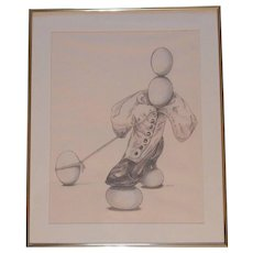 Original Pastel and Pencil on Paper Henri Doner-Hedrick 'Balancing Out' - Red Tag Sale Item