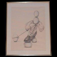Original Pastel and Pencil on Paper Henri Doner-Hedrick 'Balancing Out' - Red Tag Sale Item