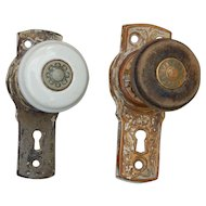 c 1876 Pair Antique Kansas Church Porcelain Wood Brass Door Knobs with Plates
