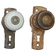 c 1876 Pair Antique Kansas Church Porcelain Wood Brass Door Knobs with Plates