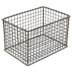 Small Vintage Heavy Gauge Metal Wire Crate Basket