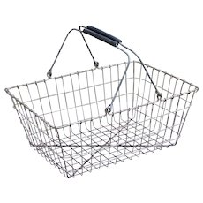 Vintage Rubber Handled Metal Wire Shopping Basket