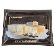 Vintage Motorola Advertising Glass Tray Dish