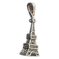 3 Dimensional Hematite Stones Set Silver Eiffel Tower Bracelet Charm Marked 925