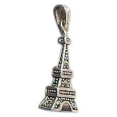 3 Dimensional Hematite Stones Set Silver Eiffel Tower Bracelet Charm Marked 925