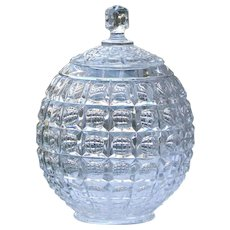 Vintage Globe Glass Lidded Candy Dish