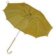 Vintage Jem Yellow See Through Flower Adorned Parasol Umbrella