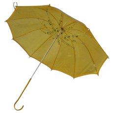 Vintage Jem Yellow See Through Flower Adorned Parasol Umbrella