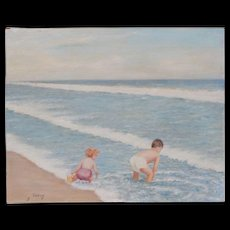 "Original Pontius E Children at the Beach Painting on ""Newton"" Canvas Board 16 X 20"