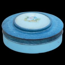 Blue Brushed Metal Vanity or Gift Tin with Painted Lovers on Mother of Pearl Inlay