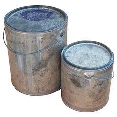 Vintage Metal Decorating Tins with Handles