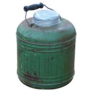 Porcelain Lined Green Metal Wire and Wood Handled Vintage Thermos