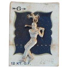 Griffith Hallmarked 12k Gold Filled Male Golfer Vintage Charm