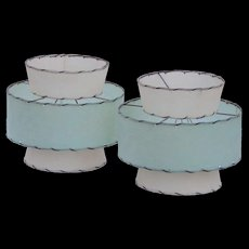 Pair Genuine Mid Century Fiberglass Pale Mint Green and Off White 3 Tier Flared Top Vintage Lamp Shades