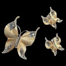 Trifari Gold Butterfly Set Brooch And Earrings