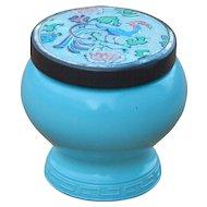 Vintage Bird of Paradise Avon Lidded Blue Glass Jar