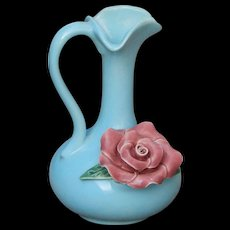 Robin's Egg Blue with Dusty Rose Vintage Ceramic Vase - Red Tag Sale Item