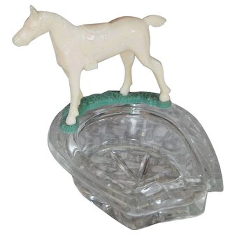 Lucky Horseshoe with Horse Statue Clear Glass Vintage Ashtray