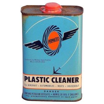 Vintage 1962 Permatex Plastic Cleaner Tin