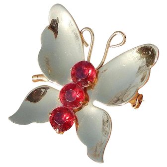 Vintage Red Rhinestone Coro Gold Tone Butterfly Pin