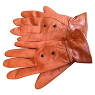 Beaded Copper Brown Kid Leather Women's Gloves