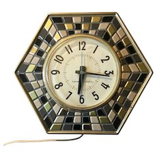 Vintage Mid Century General Electric Faux Tile Mosaic Wall Clock