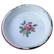 Vintage White Enamel Pie Plate with Red Rose and Trim