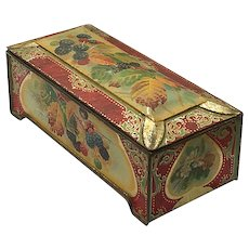 Berries and Leaves Footed Double Walled Lid Decorative Tin Box
