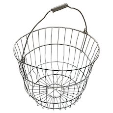 Old Wrapped Wire Handle Farm Egg Basket