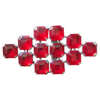 Silver 112 Marked Czech Two Piece Red Glass Buckle