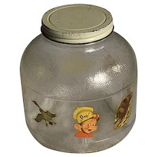 c1949 Kellogg's 'Snap' Rice Krispies Decal Vintage Decorated Glass Jar