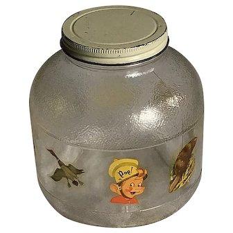 c1949 Kellogg's 'Snap' Rice Krispies Decal Vintage Decorated Glass Jar