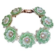 Coro Vintage Mint Green Plastic Flowers, Lace and AB Rhinestone Bracelet
