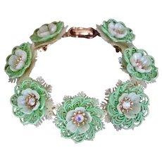 Coro Vintage Mint Green Plastic Flowers, Lace and AB Rhinestone Bracelet