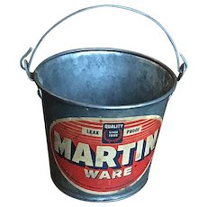Small Red Label Martin Ware Vintage Metal Bucket